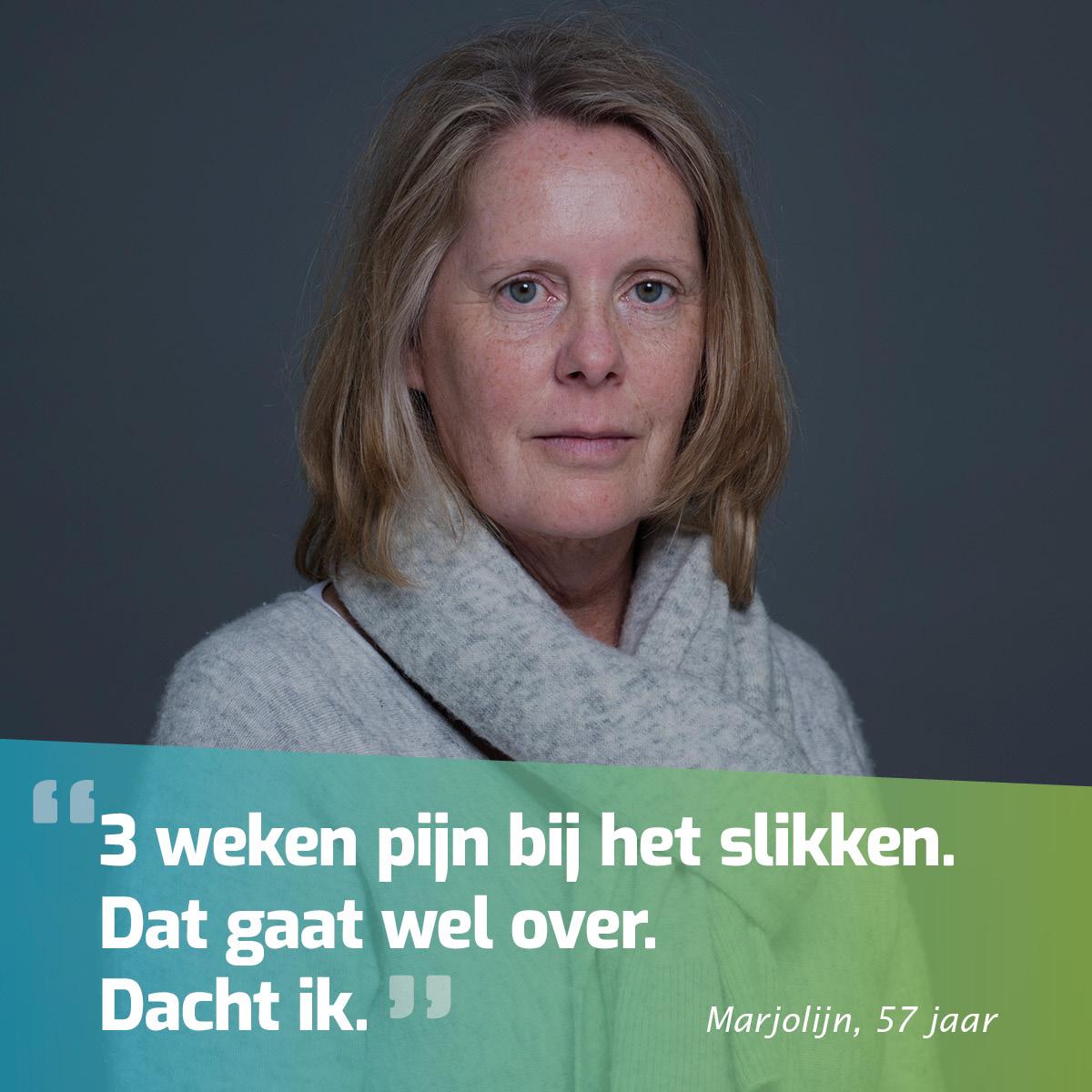 """Afbeelding Van Marjolijn Met Quote """"3 Weken Pijn Bij Het Slikken. Dat Gaat Wel Over. Dacht Ik."""""""
